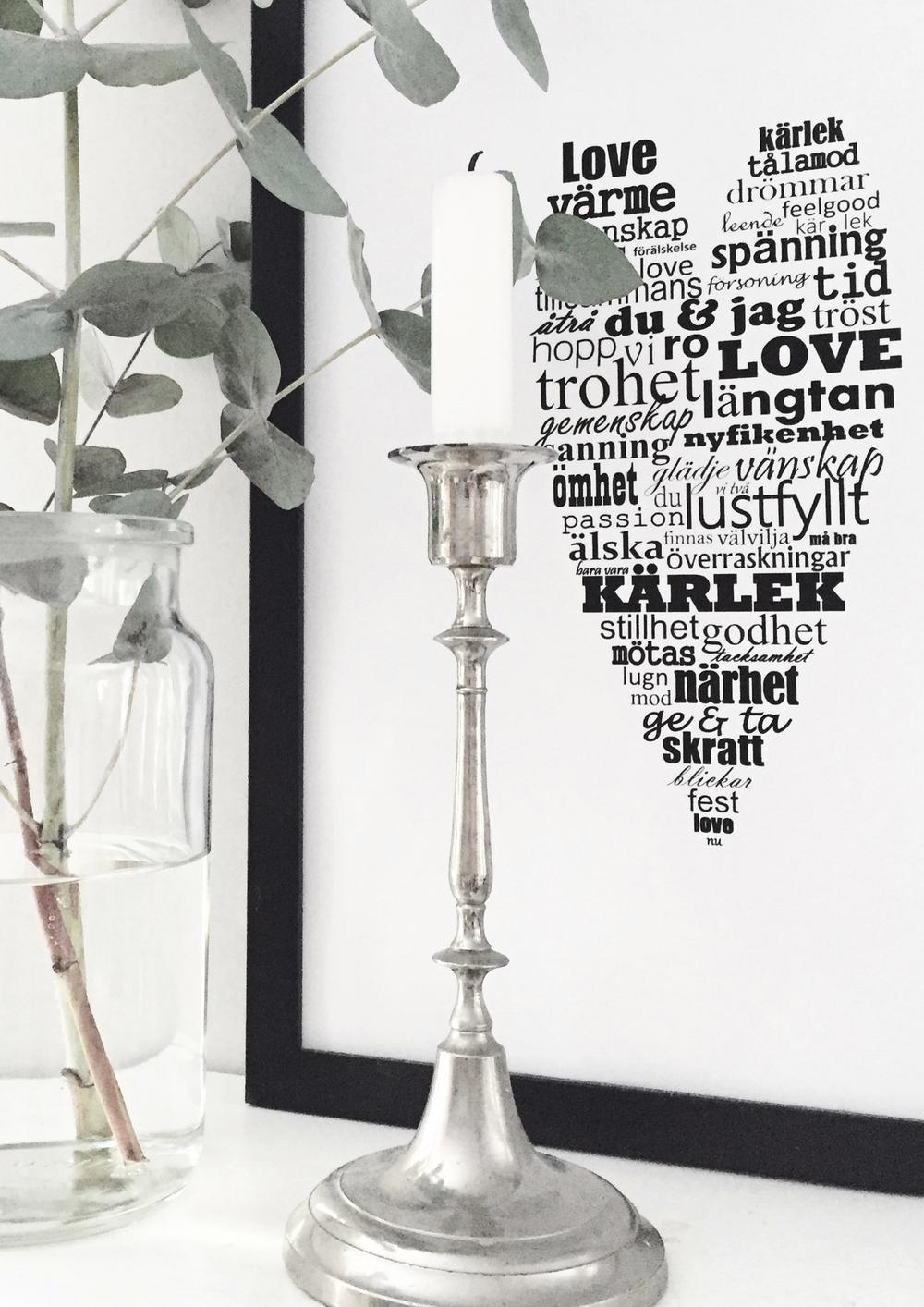 Hjärta fyllt av kärlek grafiskt print design millandante.se