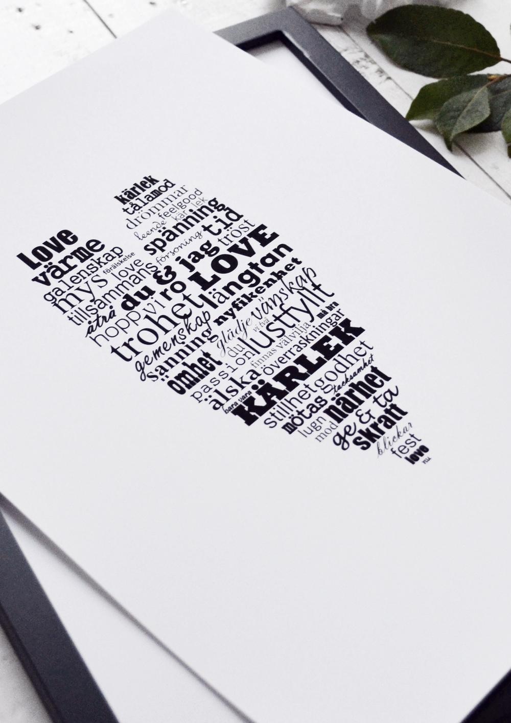 Hjärta fyllt av kärlek grafiskt print inredning millandante.se
