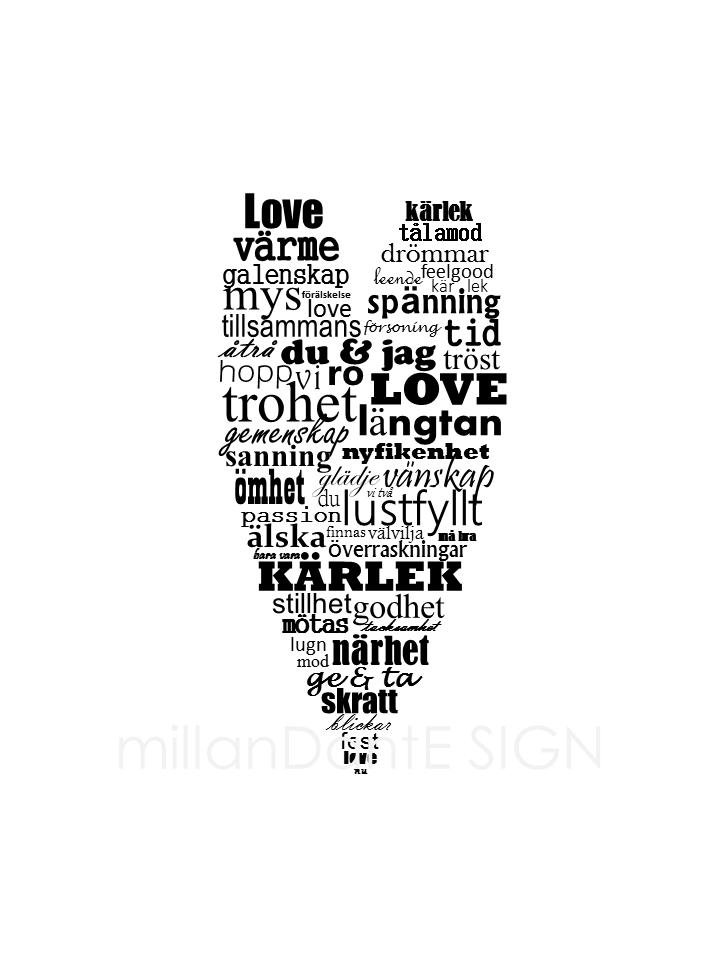 Hjärta fyllt av kärlek grafiskt print millandante.se