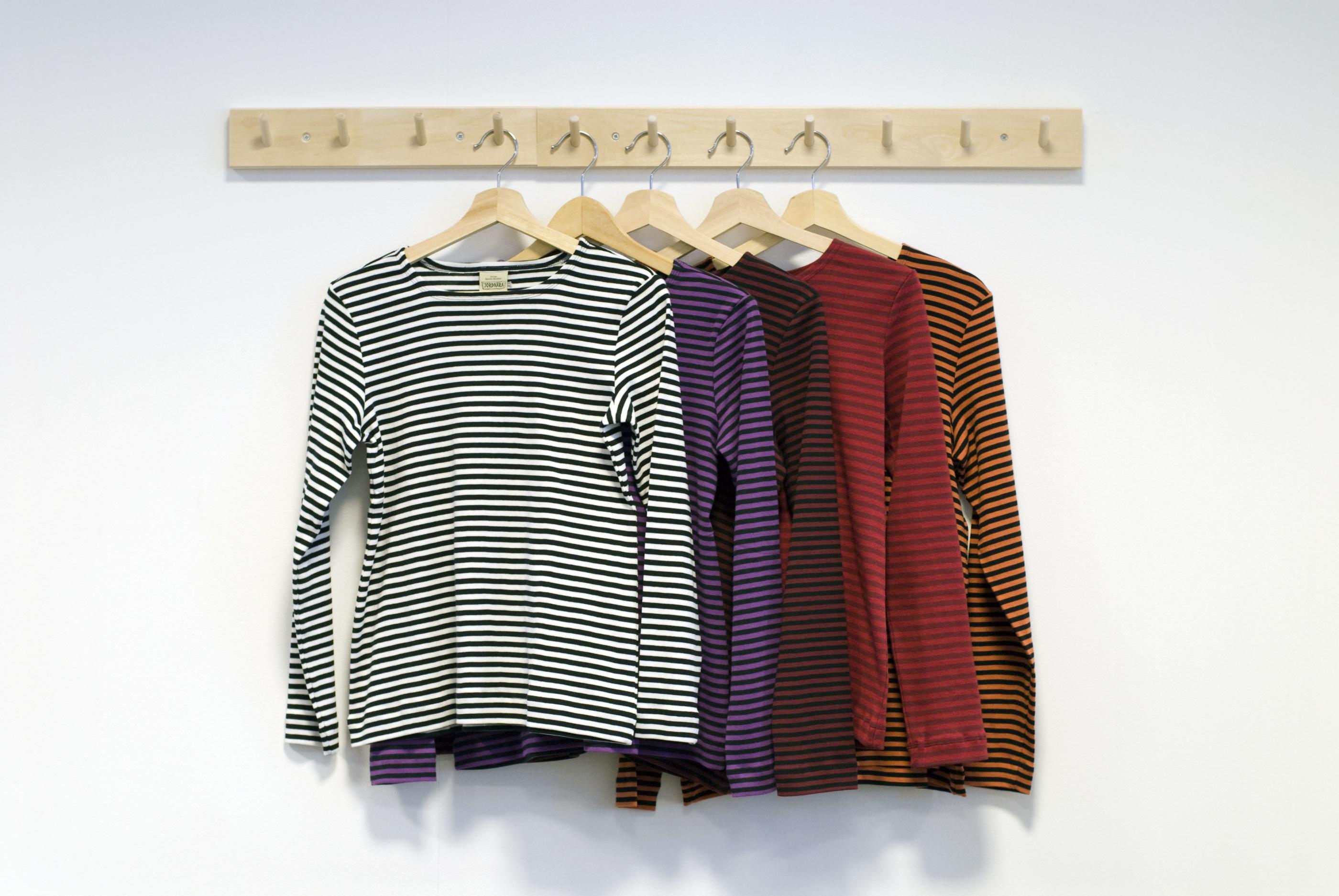 Jordnära randiga tröjor