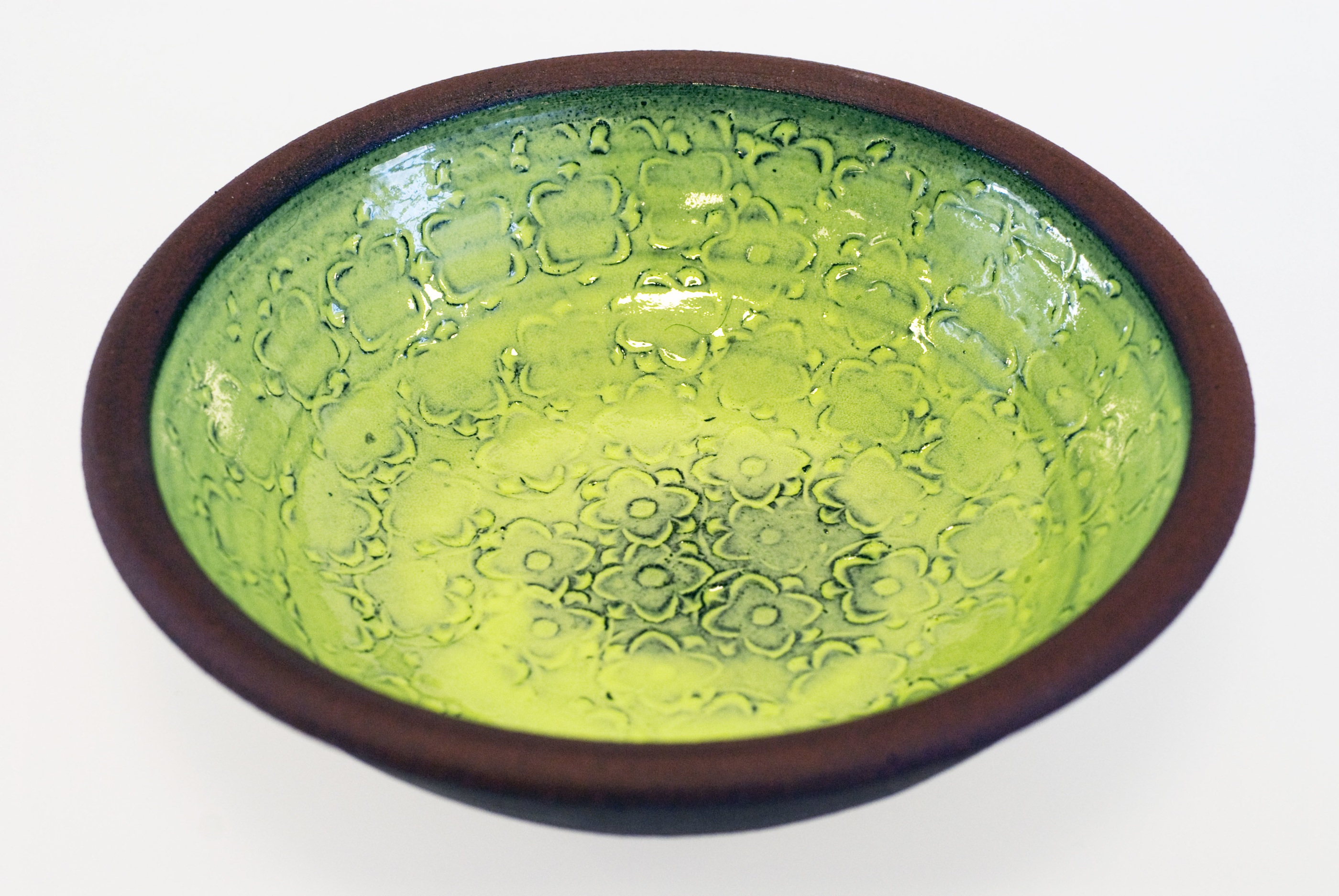 Handdrejad grön skål