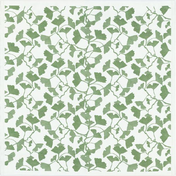 Fyrkantig duk, vit botten med grönt mönster av blad