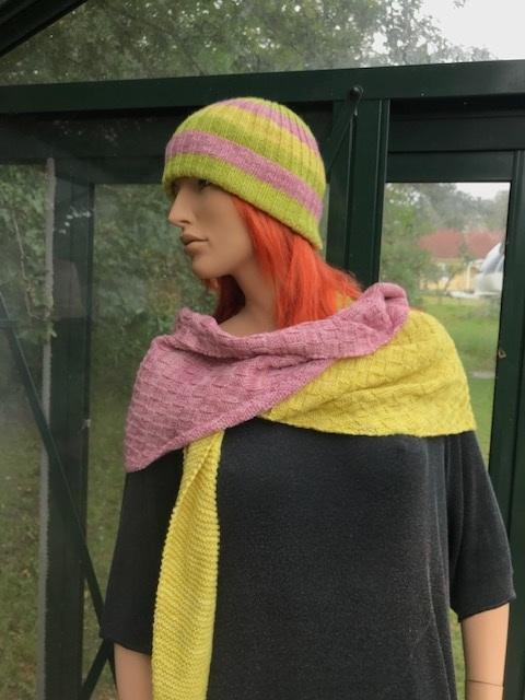 Schal,gul,grön,rosa röhårig