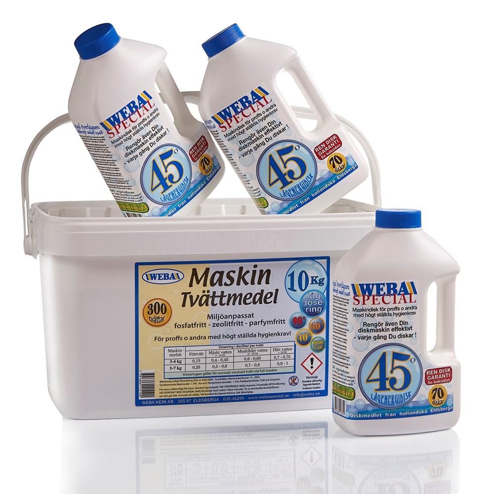 weba paket med tvättmedel 10 kg zeolitfritt och Weba diskmedel special