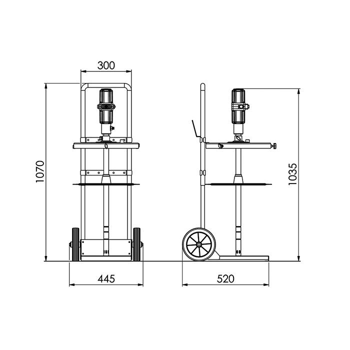 Smörjutrustning för 50 kg fat med vagn KP7273TN detalj