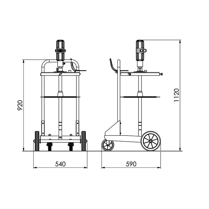 Smörjutrustning för 50 kg fat med 4 hjulig vagn KP7273TA detalj