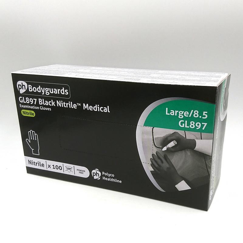 SVARTA NITRILHANDSKAR Medical L GL897 Polyco puderfria 100-pack