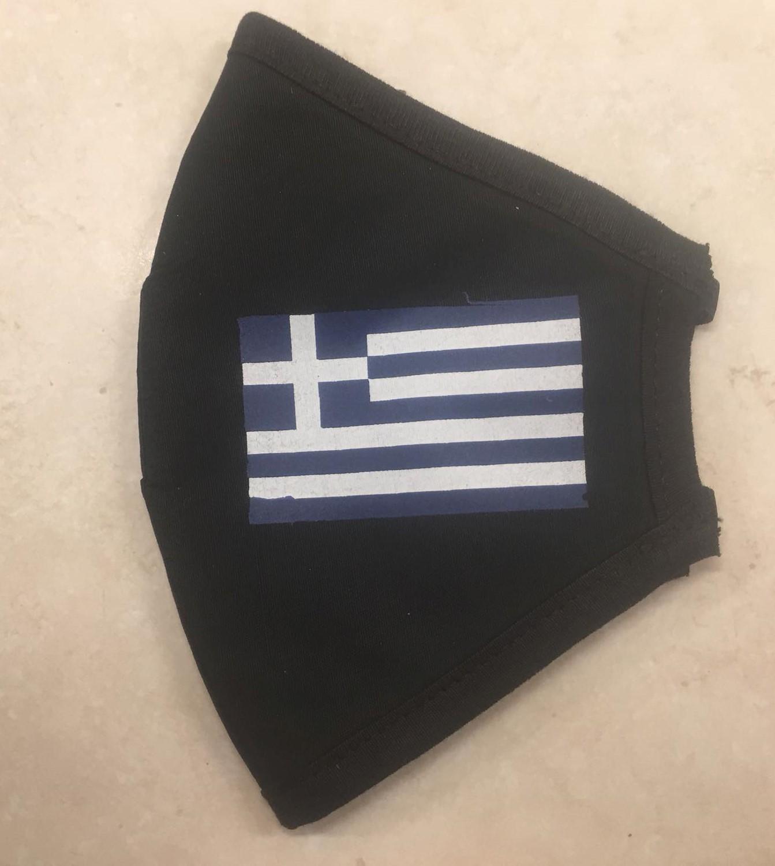 Face mask black, greek flag big