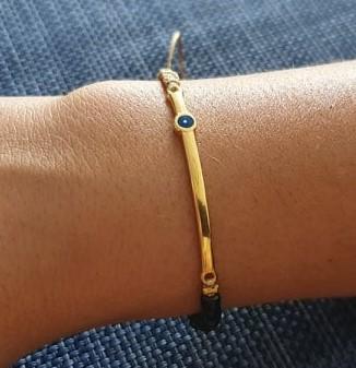 Βραχιόλι με μάτι σε χρυσό χρωμά μέταλο - Bracelet gold colored with eye - Βραχιόλι χρυσό χρώμα με μάτι, μαύρη πέτρες & μπέζ