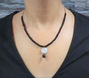 Κολιέ χειροποίητο - Necklace handmade - Κολίε μαύρη πέτρα ασημί, μαύρο & γυαλί - Necklace with black stone and silver,black adn glas