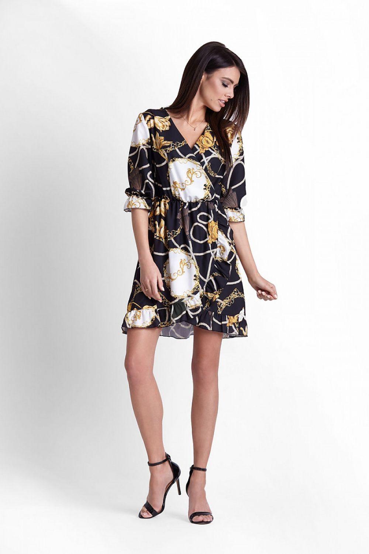 3d55672607ec Mönstrad klänning-svart | FashionLineSWE