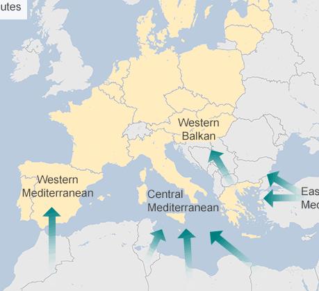 Flyktvägar över Medelhavet. Källa Frontex.