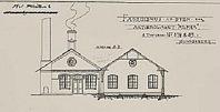 """Bilden från Max Sieverts ritning till  AB Alphas fabrik i kvarteret Plåten i hörnet Esplanaden-Vasagatan. Vi är öster om Esplanaden. Ritningen från 1897. Fabriken färdig 1898  och kallades för  """"Järnalpha""""  för att inte blandas ihop med trådfabriken, """"Trådalpha"""" kallad."""