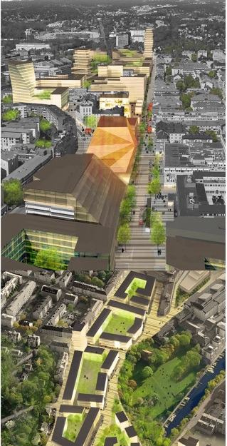 Skickliga Arkitektbyrån Whites förslag till byggnad på Sundbybergs torg återgiven i Stadens Vision 2020.  Till Staden: FÖRVERKLIGA och tramsa inte med gräs på torget. Låt behov gå före gräsmatta!. De två bilderna ovan: WHite/Kommunen
