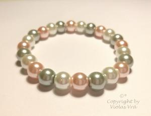 Pärlarmband 1090 - Vit, grå och rosa