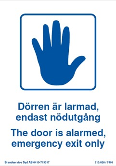 Skylt Dörren är larmad - 148 x 210 mm i plast