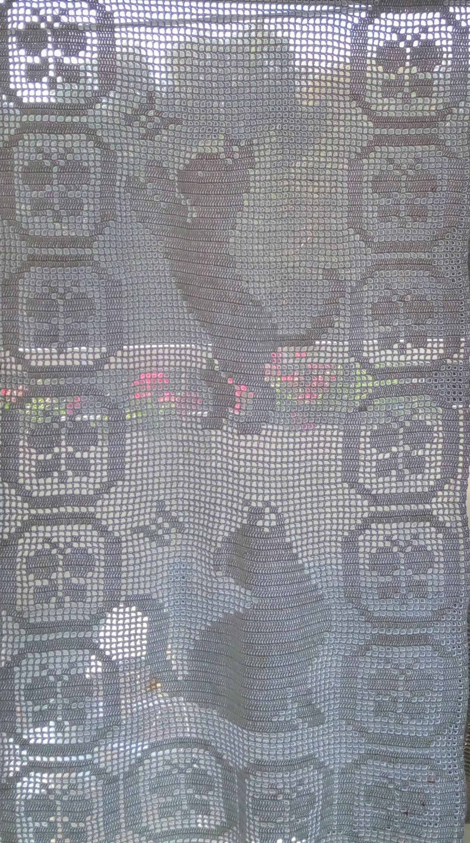 Gardinpanel katt och fjäril i fönster