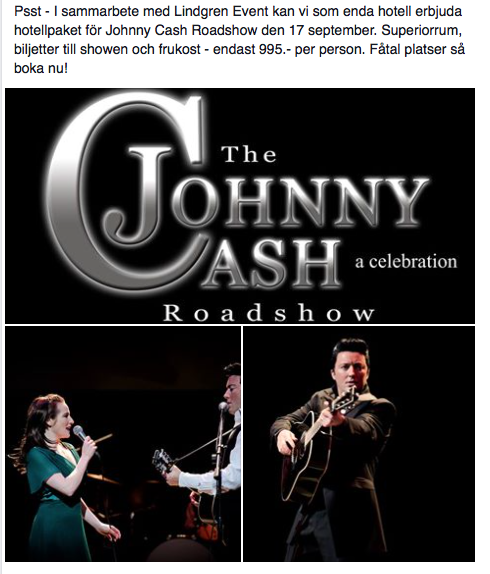 Paket Hotel Comfort Eskilatuna och konsert Johnny Cash Roadshow Eskilstuna Teater