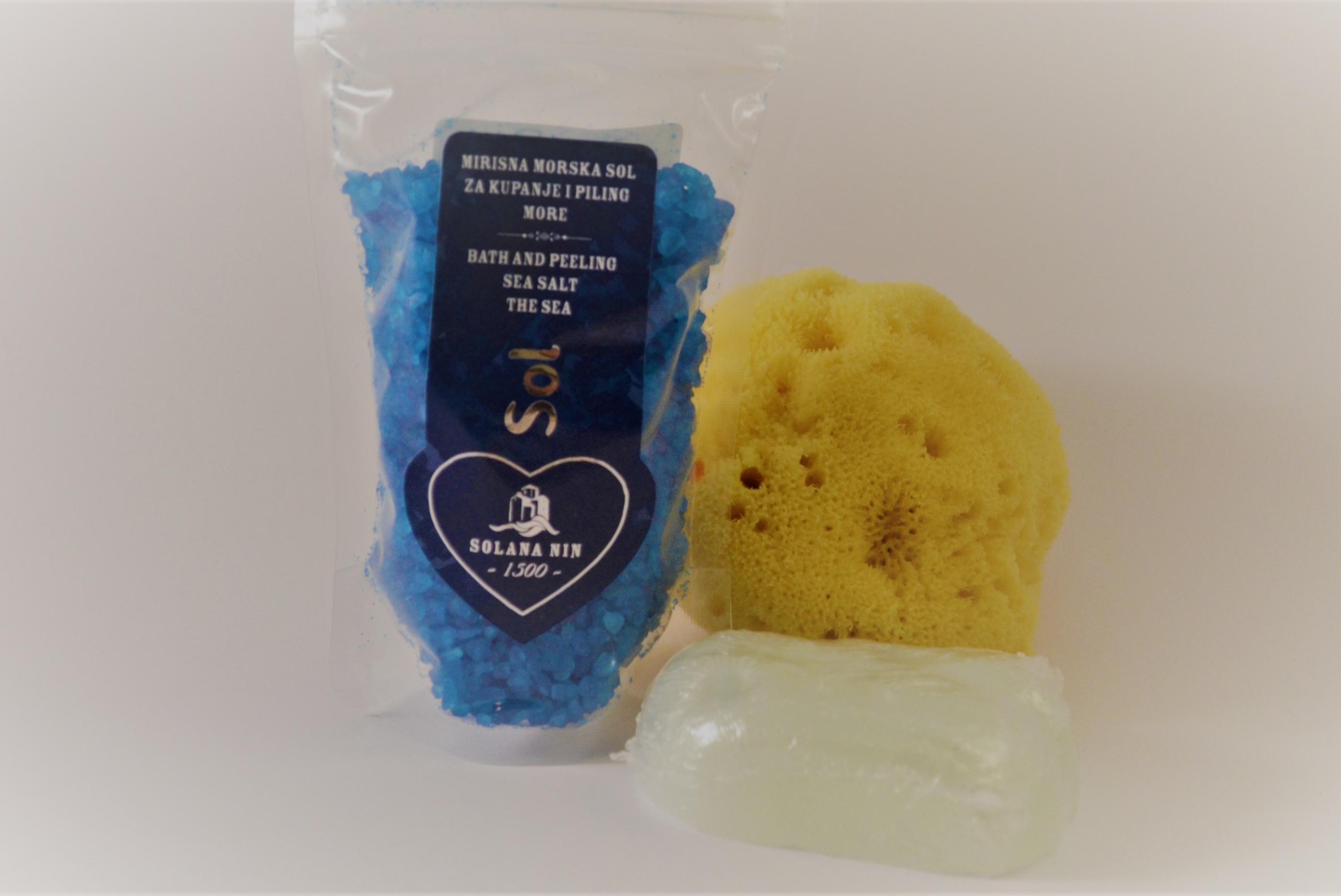 badsalt Hav - handgjord tvål salvia - duschsvamp