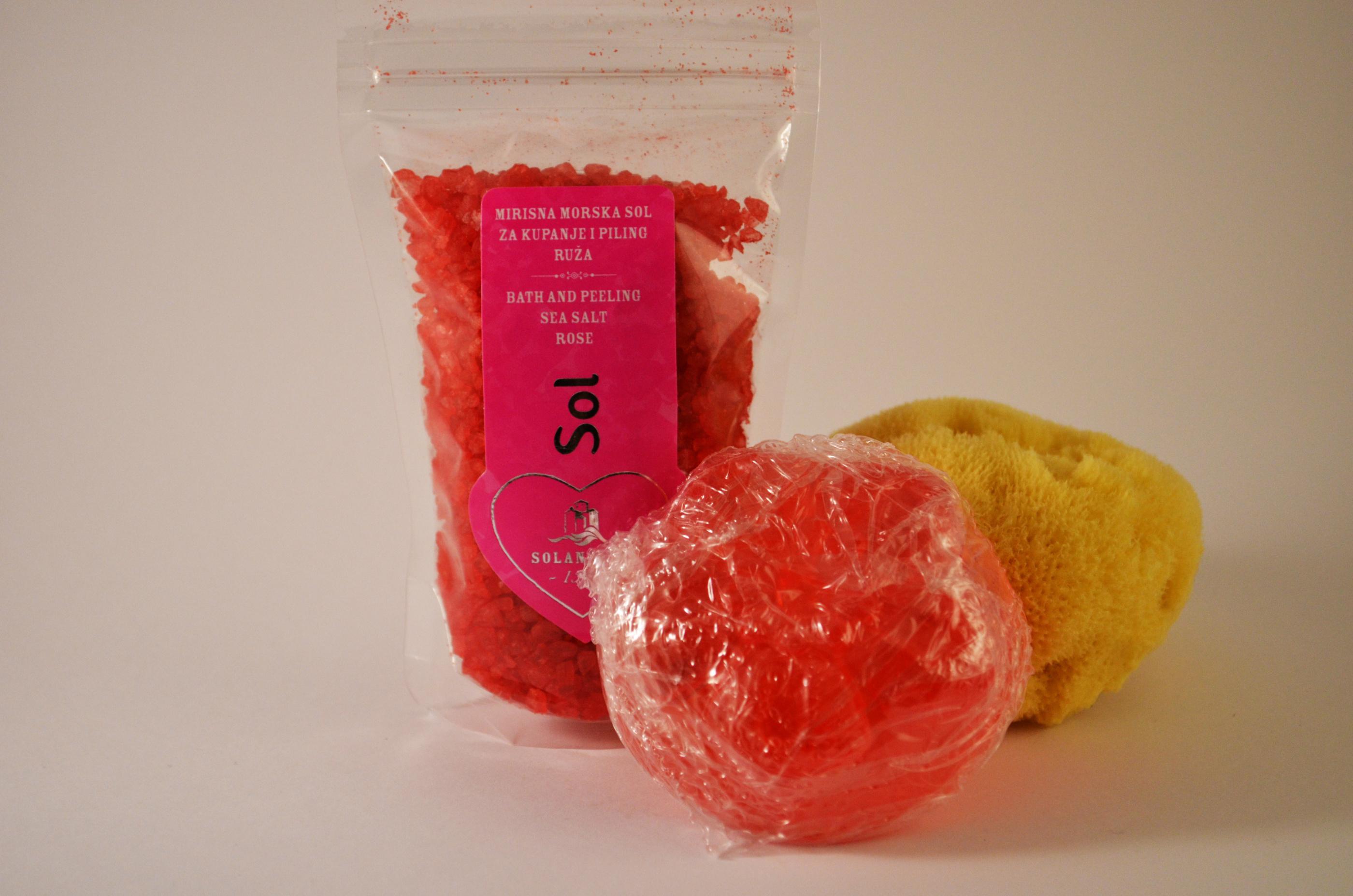 badsalt rosenblad - duschsvamp - tvål