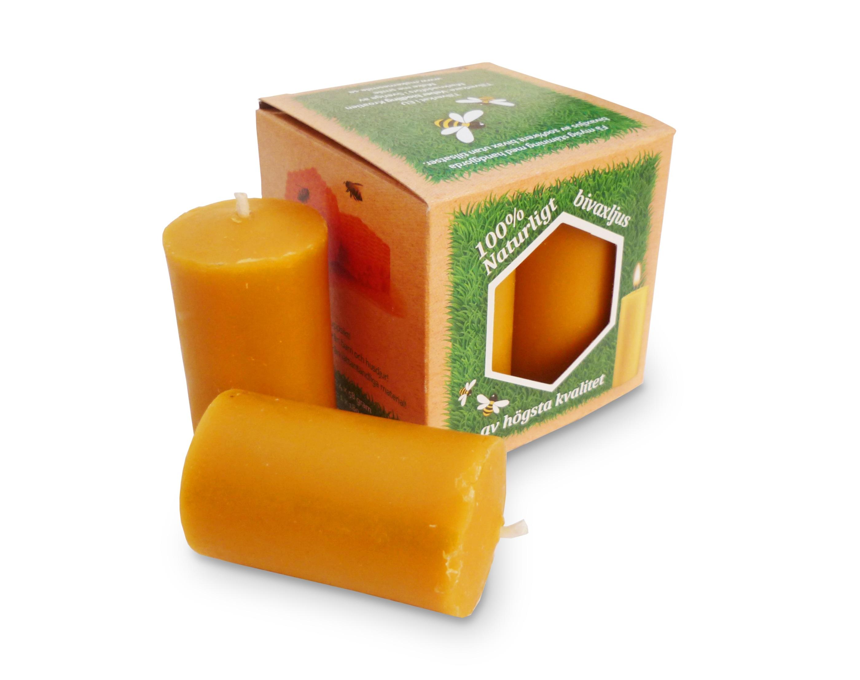 Blockljus av bivax, bredd 35mm, höjd 65mm, 4/1