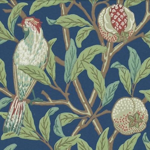 Bird & Pomegranate Mörkblå L