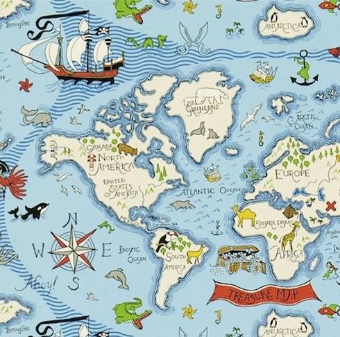 Treasure Map Blå L