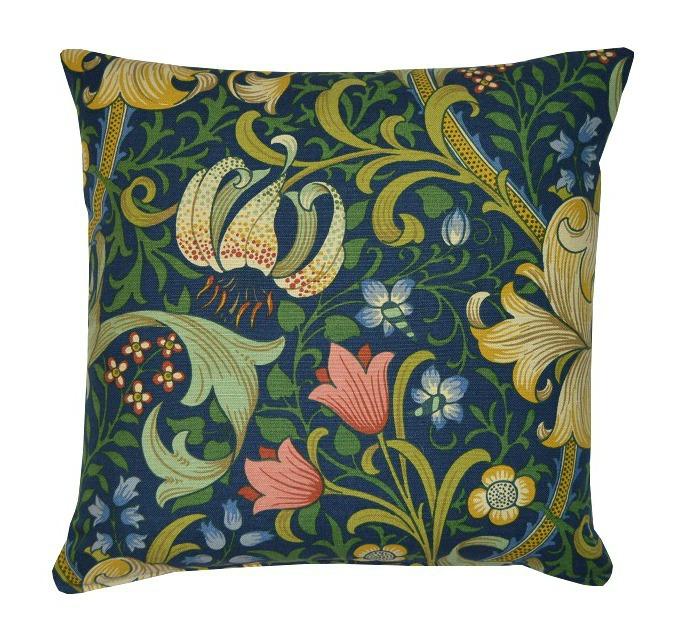 1 Kudde Golden Lily Mörkblå