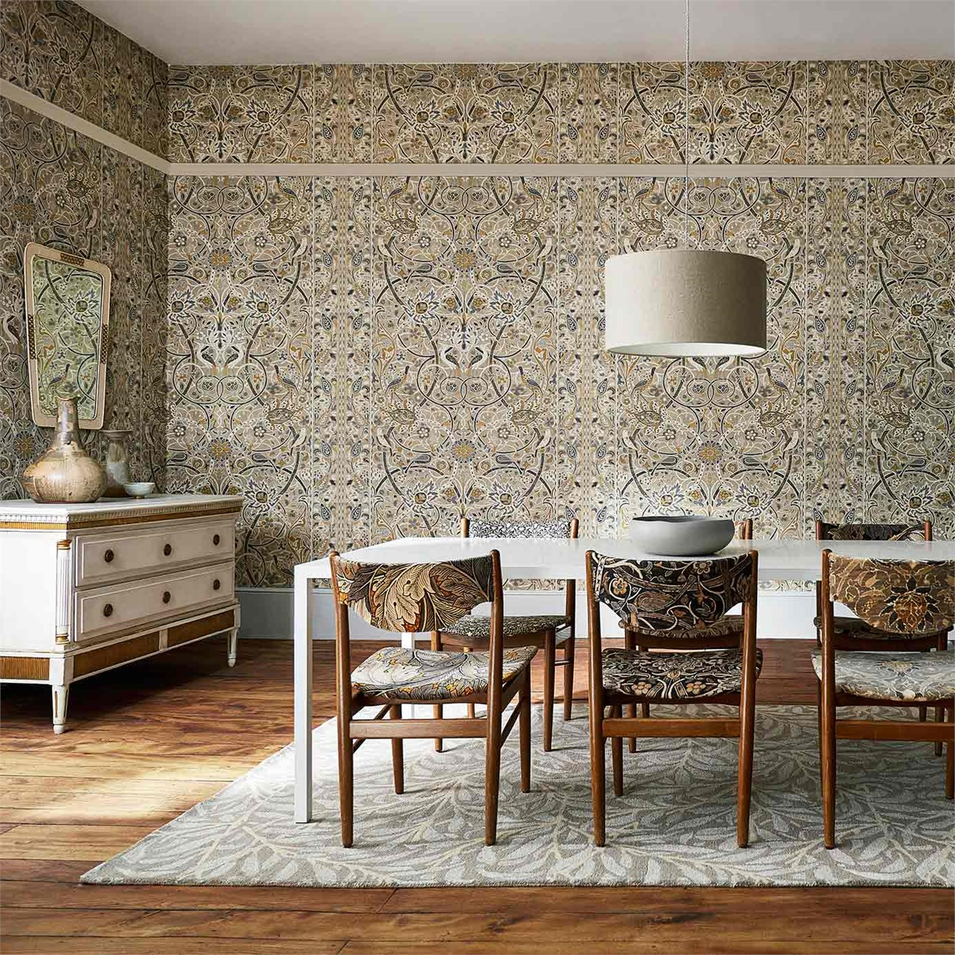 1-Morris-Bullerswood-dining-room-damask-neutral-style-library