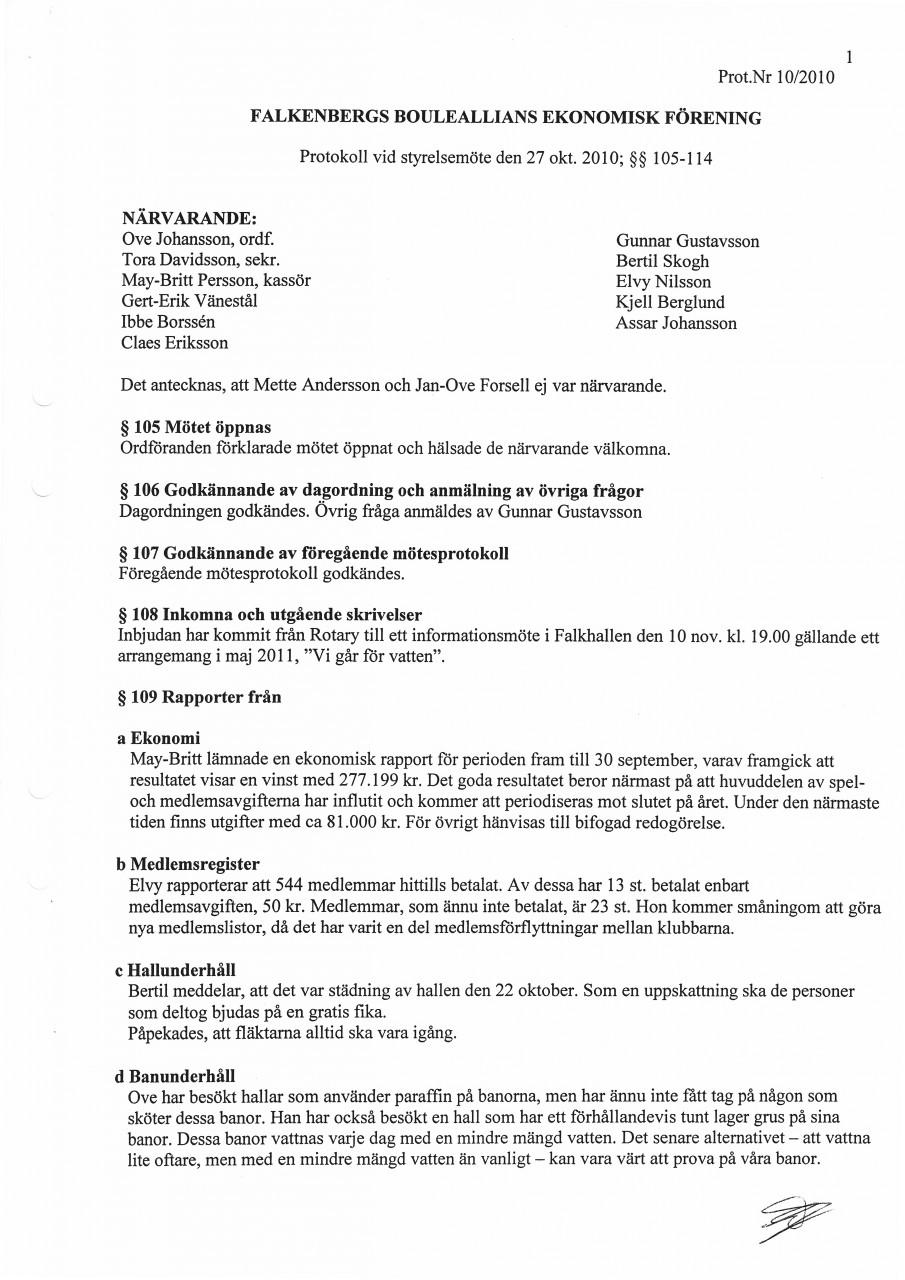 Styrelseprotokoll 2010-10-27. Uppdaterad ... 658b2ade3fd32