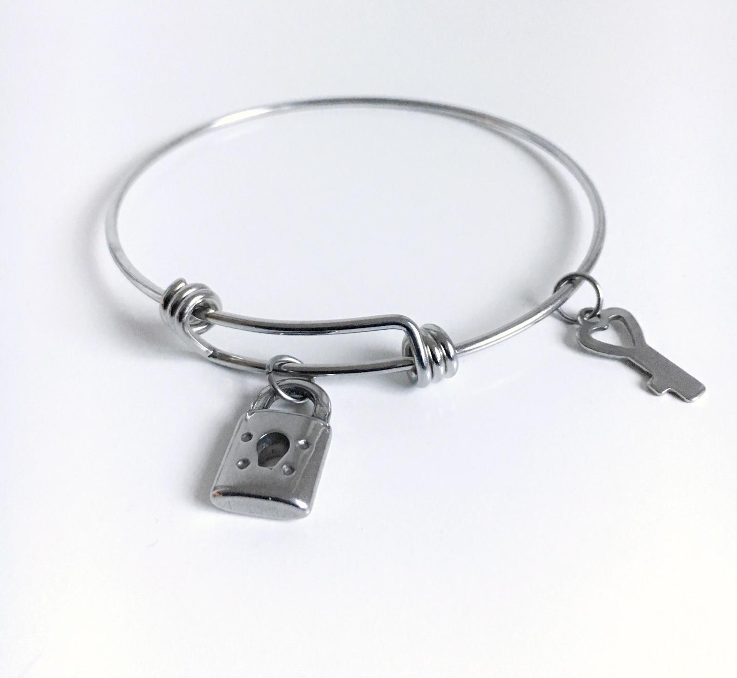 Hjärthänglås och nyckel_armband