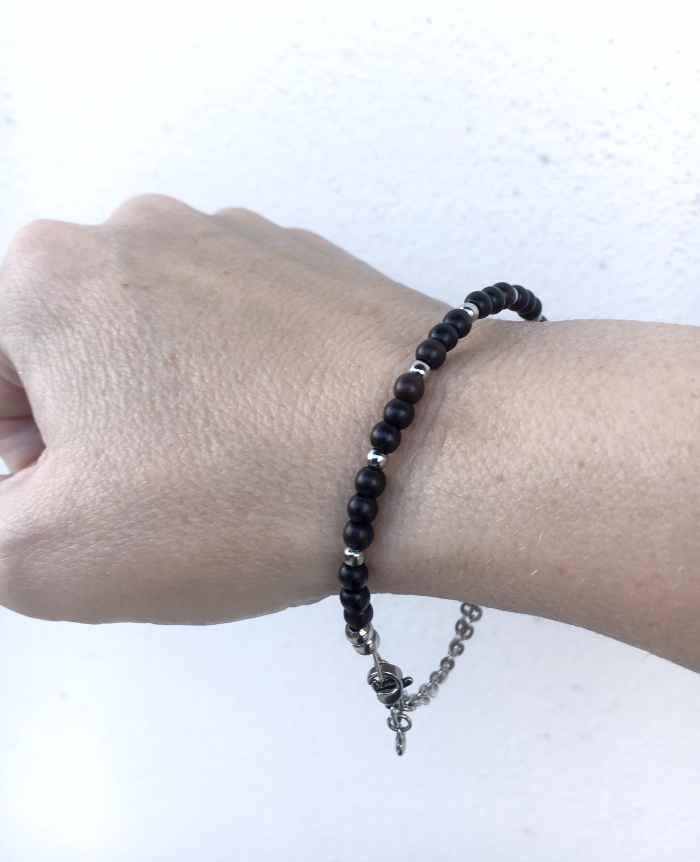 Stelt armband med kedja_svart_4