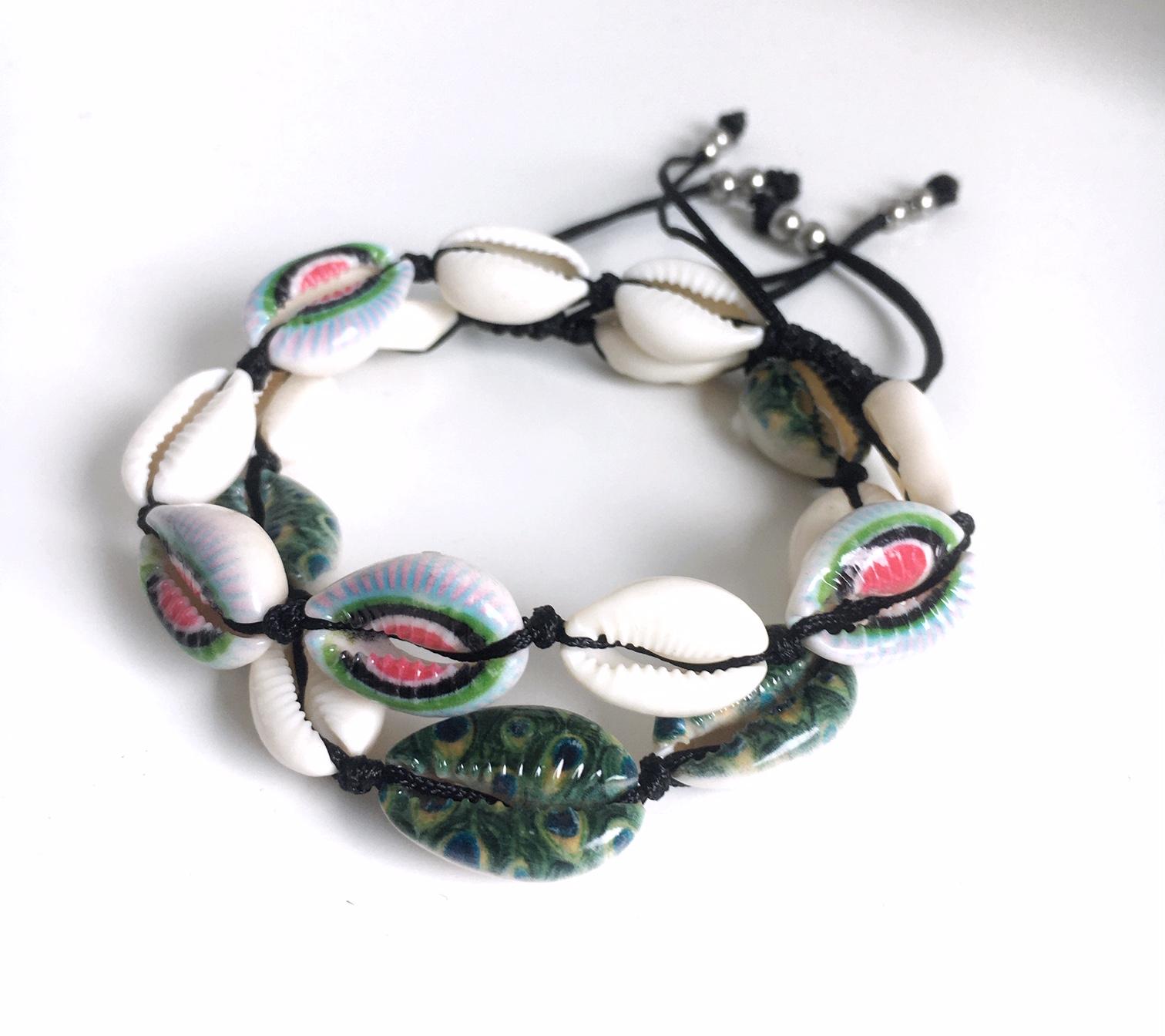Snäckarmband med färg_3_MIX_grönt