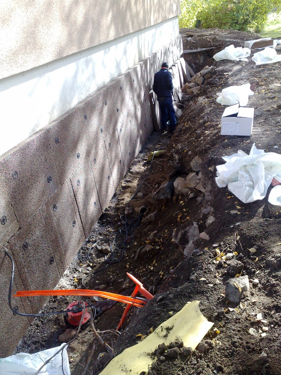 Dränering fukt husgrund schakt : dränering av hus : Inredning