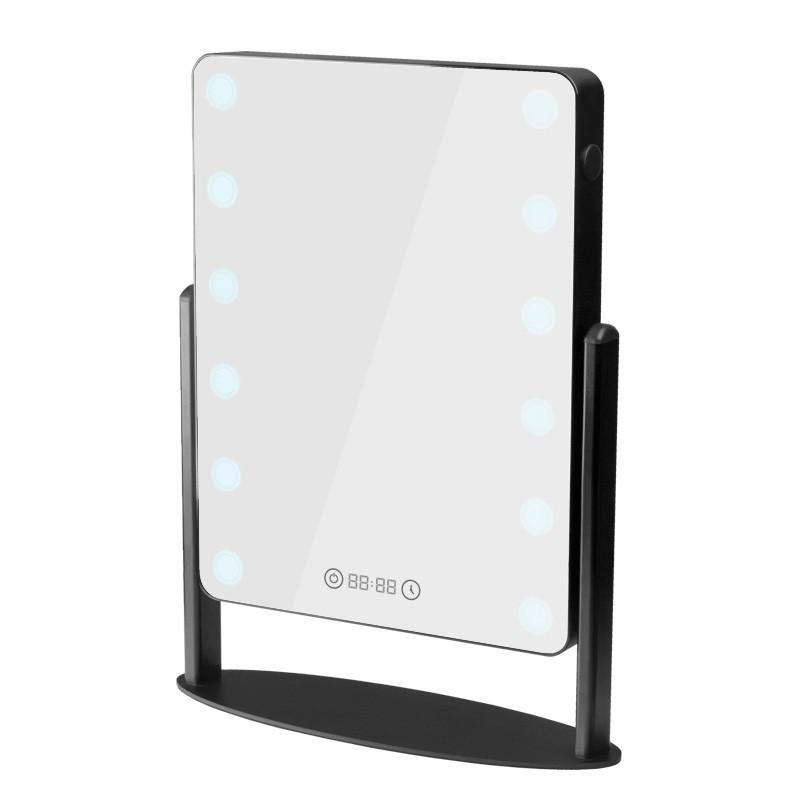 Bordsspegel med Belysning, USB port, Bluetooth, digital clock