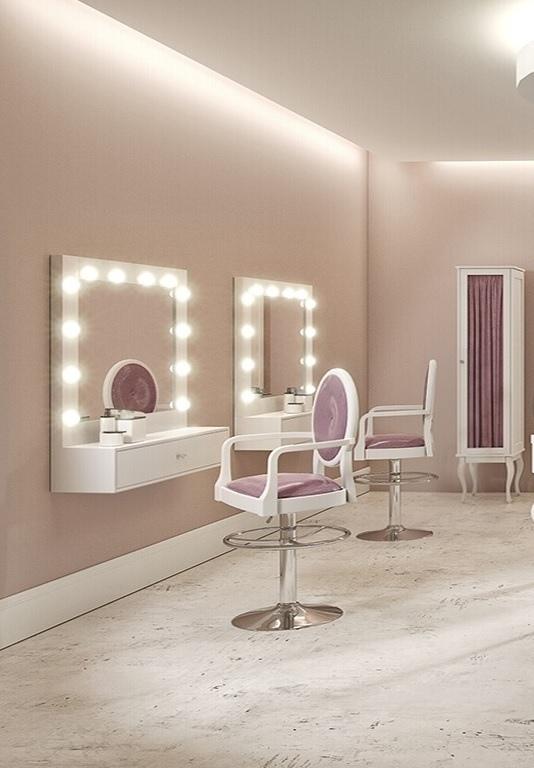 Arbetsplats Make Up Spegel Princess med LED  färgval Made in Europe