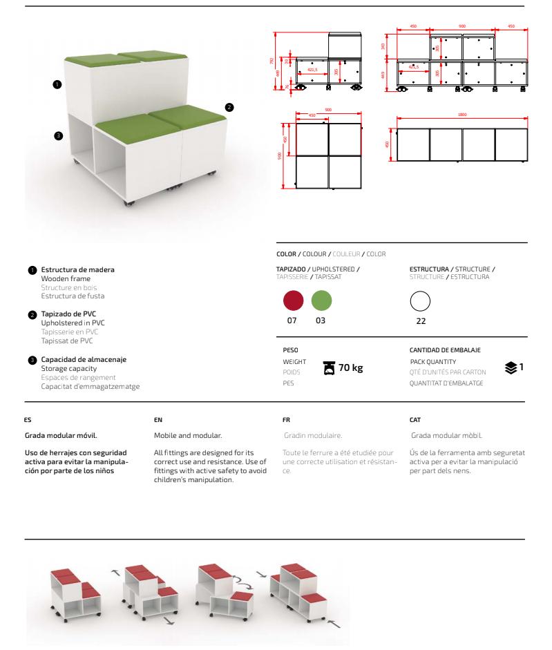 MOVE Mobilt och modulärt säte med förvaring i grön eller röd