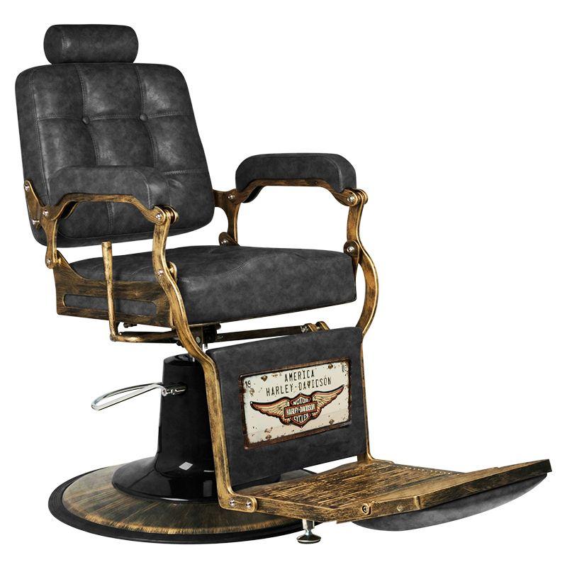 Barber Chair Frisörstol Used look med guldfärgade detaljer