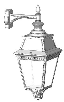 Klassisk utebelysning för vägg på hängande arm, sekelskiftestil - hos Alegni Interiors