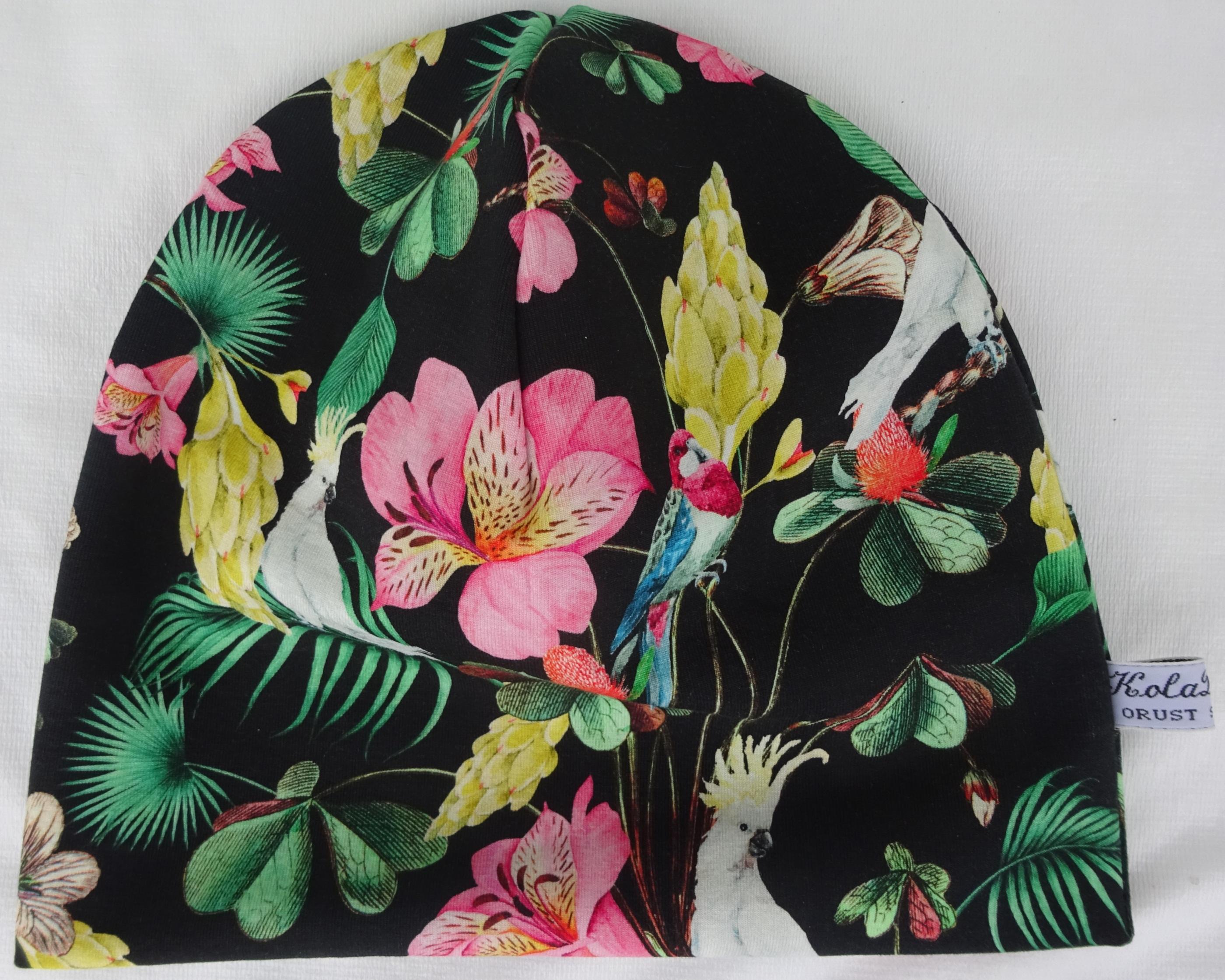 Blommor,kakaduva Trikåmössa