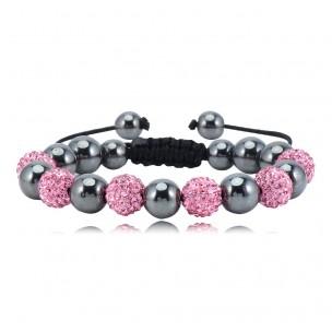 Makramé med rosa rhinestones, 6 pärlor
