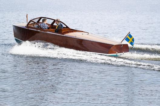 Typ: Motorbåt, Ess-båt Konstruktör: Gideon Forslund     Foto: T Olsson  Källa Sjöhistoriska museet