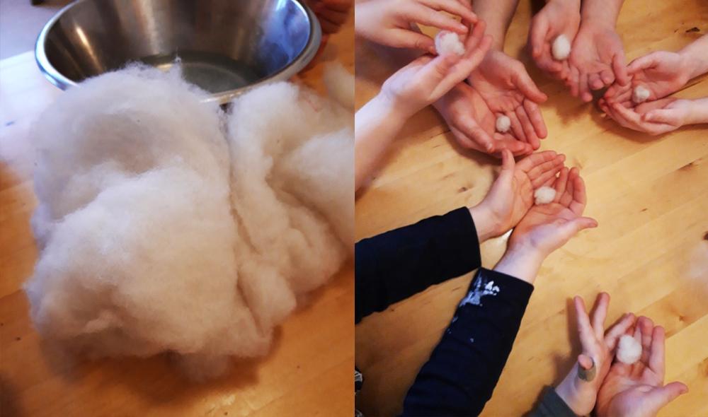 I Sannas grupp tovas pepparkakor av ull! Ullen blöts med vatten och formas till runda kulor av barnahänder.