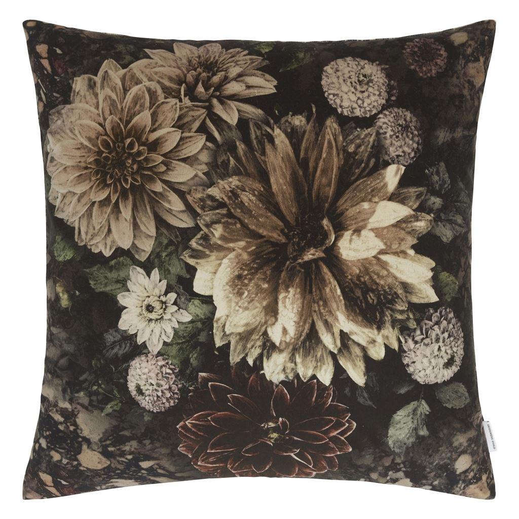 Designers Guild Kudde Dahlia Noir Slate Cushion 55 x 55cm CCDG0922