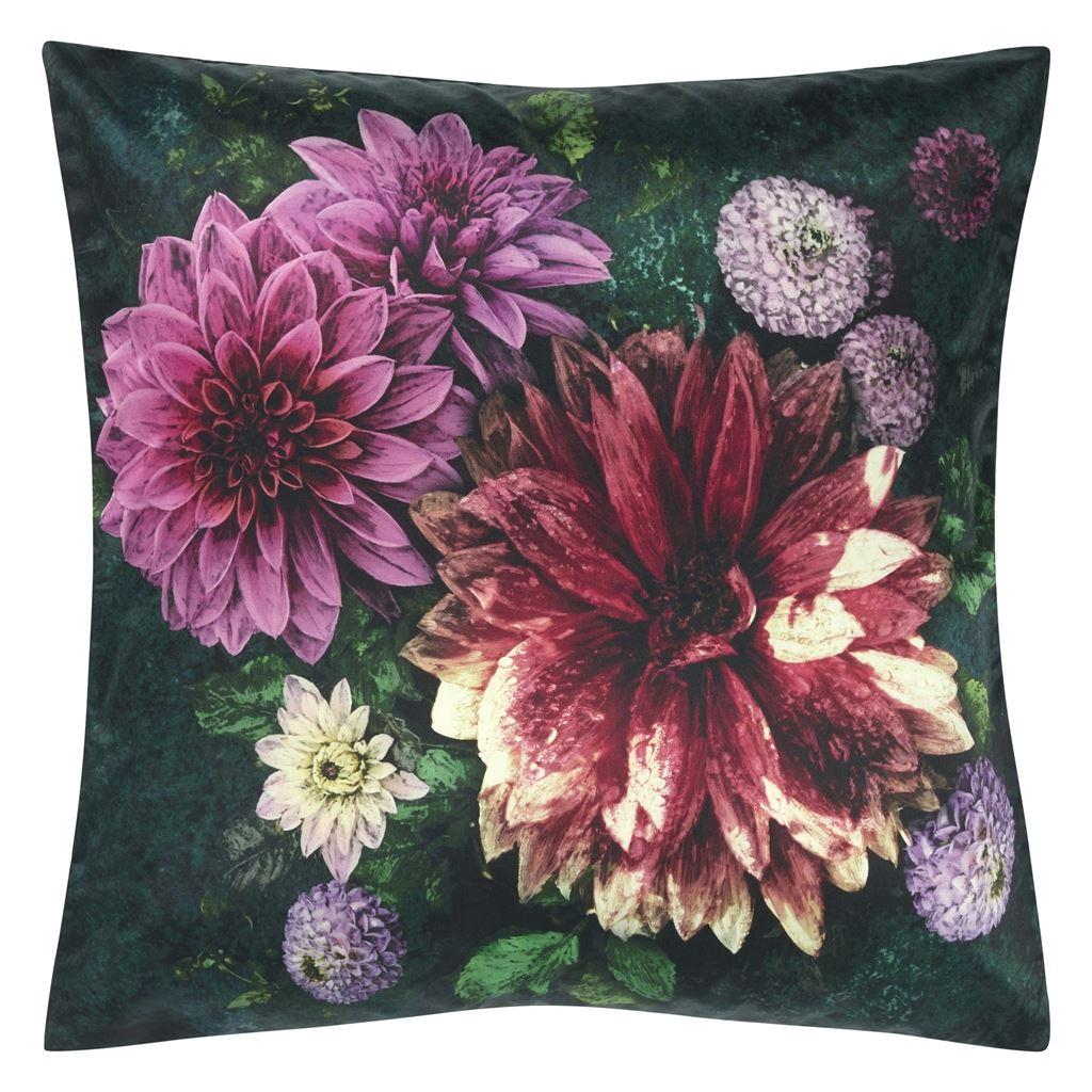 Designers Guild Kudde Dahlia Noir Fuchsia Cushion 50 x 50cm CCDG0918