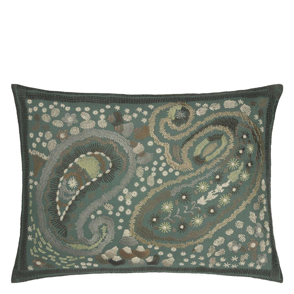 Designers Guild Kudde Uchiwa Teal Cushion 60 x 45cm CCDG0920