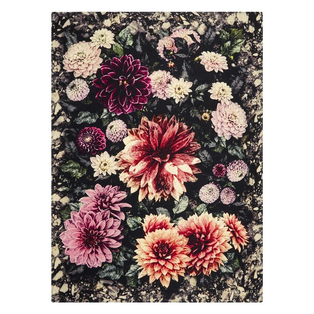 Designers Guild Pläd Dahlia Noir Fuchsia Throw 130 x 180 cm BLDG0197 digitaltrykt på 100% merino ull