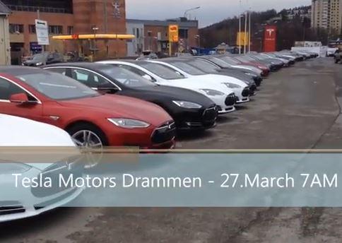 En dags leveranser av Tesla Model S i Norge