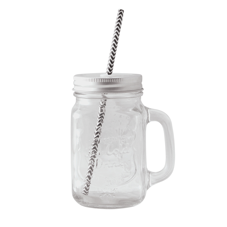Glasburk med handtag + lock med sugrör Butikälva