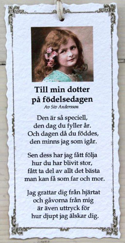dikt dotter födelsedag Diktkort   Till min dotter på födelsedagen | Butik Älva dikt dotter födelsedag